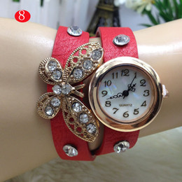 New Arrival Fashion Leather Bracelet Watch Leather Butterfly Watch Women Dress Watches Girls Wristwatches 10 colors YR