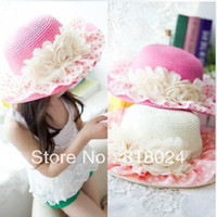 Wholesale 1PC Lace Floral Brim Baby Girls Paper Straw Sun Hats Sunhats for Kids Wide Floopy Brim Beach hat Children caps
