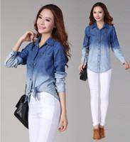 Cheap Blusas Femininas 2014 New Denim Shirt Plus Size Blouse Blusinhas Camisa Jeans Feminina Blusa De Renda Cardigan Women Jeans Shirt