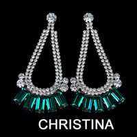 Wholesale 2014 new fashion square emerald color dangle earrings designer inspired jewelry bijoux women