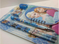 Wholesale hot sales gifts blister packing Frozen Anna Toys Princess packing ball pen pencil eraser pencil knife children gifts study toy