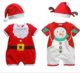 Christmas Baby Clothing High Quliaty Embroidery Baby Christmas Romper With Cpas 0-24M Toddler Infant Jumpsuits 6pcs lot WD262