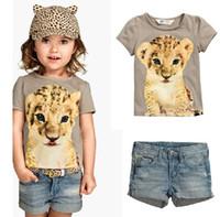6Set Children Summer Short Sleeve Leopard Printed T- Shirt + ...