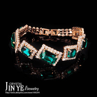 Wholesale Big Green Rhinestone Square Cuff Bracelets Bangles For Women Brand Real Gold Plate Austrian Crystal Indian Vintage Jewelry