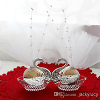 wedding favours - Romantic Wedding Favours Candy Box Acrylic Silver Swan Wedding Favor Box With Pearl New Arrival
