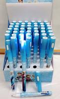 Wholesale 96pcs Frozen Student Study Stationary Ballpoint Pen With Lamp Princess Elsa Anna Boys Girls School Pens Cartoon Office Suppliers H1499