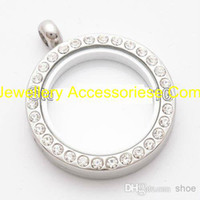 Cheap Wholesale - 5PCS 30mm Silver Round magnetic glass floating charm locket Zinc Alloy+Rhinestone Free shipping (chains included for free)