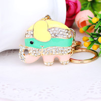 Wholesale Susie F H elephant Rhinestone Gold Plated Alloy keychain Crystal Car Keyring Gift k0406