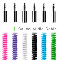 Wholesale 6ft M MM AUX Audio Cable Car Stereo Extension Retractable Spring For Car Cellphone iphone ipad ipod Tablet Speaker