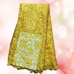 Top selling XW1-1 gold flower design African chemical water soluble lace fabric,Latest french guipure lace fabric for dress