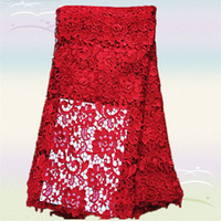 Fabric african dress designs - Most popular XW1 red flower design African chemical water soluble lace fabric Top grade french guipure lace fabric for dress