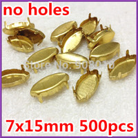 Wholesale 7x15mm x18mm x32mm Navette Brass Metal Claw Setting Closed Back With No Holes For Sewing On Horse Eye Fancy Stone