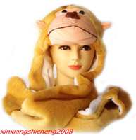 Wholesale New Multifunctional Animal Winter Hat Plush Novelty Cap Animal Costume With Long