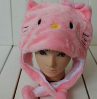 Wholesale 2013 Fashion Autumn Winter Hello Kitty Hat for Baby and Girls Caps Cartoon Hats very warm HAT Christmas Gift GOOD QUALITY