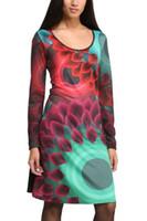 Wholesale Spain Brand Plus Size Women Summer Dress Vintage Digital Print Vestidos femininos Casual party Desigual Dresses