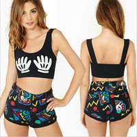 Cheap 2014 New Women Punk Vest Summer Sexy Short Crop Tops Sexy Summer Clothing Printing Tank Sleeveless Short Top Vest Black M L XL
