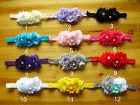 achat en gros de accessoires de polygone-Les cadeaux de Noël de Shabby Chic perle strass Fleur Bandeau bébé Enfants Super Elastic Polygon Coiffe bébé Accessoires cheveux