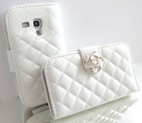 Cheap Wholesale-White Crystal Rose Flower Leather Wallet Card Holder Flip Case Cover for Samsung Galaxy S3 MINI i8190