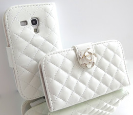 Wholesale-White Crystal Rose Flower Leather Wallet Card Holder Flip Case Cover for Samsung Galaxy S3 MINI i8190