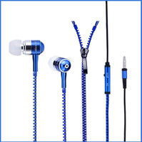 Universal in ear headphones - IN box X New Style Stereo Bass Headset In Ear Metal Zipper Earphones Headphones With MIC mm Jack Promotion