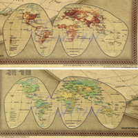 Cheap Free Shipping 1pc Large Size Vintage Retro Paper World Map Poster Wall Chart Home Deco 72.5 x 47cm