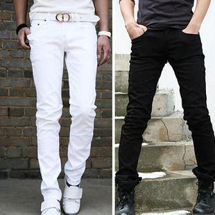 Wholesale-2014 mens solid color casual pants long pans trousers slim fit small leg black white Brief male casual pants solid color pants