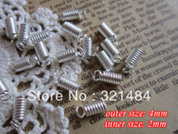 Cheap silver plated jewelry findings 4mm outer size spring crimp fastener clasps clips end caps for leather cord 2mm
