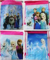 Wholesale 10pcs Hot Frozen drawstring backpacks Children handbags school bags kids shopping bags Party Gift Favor