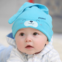 Cheap Wholesale-New mult-color Cartoon Baby Toddlers Cotton comfort Sleep Cap Headwear Cute Hat For Free Shipping