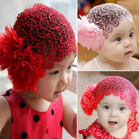Boy Summer Crochet Hats Wholesale-Toddlers Girls Kids Lace Hat Big Flowers Hat Sewing Baby Cap Hats Headband 1-6T 2 Colors For Free Shipping
