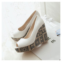 Wholesale Straw High Heeled Pumps - Fashion ol straw braid women's shoes ultra high heel platform wedges shoes fresh open toe pumps