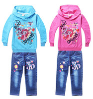 Cheap Drop shipping!(long sleeve hoodies + jeans) kids suit!children clothing wholesale,red blue baby clothes,cartoon fall fleece.5sets 10pcs.YS
