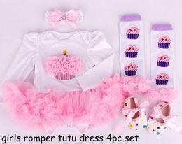 10% discount girls long sleeved christmas rompers tutu dress 4pc set infant 3D cake tutu romper dress + dot waking shoe + rainbow leg warmer