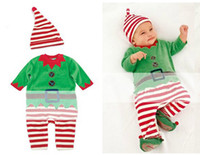 Wholesale Newborn baby christmas X mas holiday piece outfit stripe green red match baby one piece romper with caps suit child infant toddler jumpers