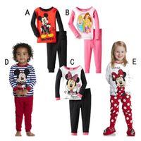 Wholesale New Girls Minnie Mouse Pajamas Boys Long Sleeve Pyjamas Kids Pijama Baby Sleepwears Cartoon Clothing set