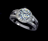 Wholesale Fashion Jewelry White Gold plated Round Swiss Cubic Zirconia and Channel Mounting Halo Engagement Rings For Women