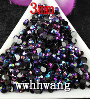 Round art jelly - Black AB Magic color AB jelly mm resin rhinestones Nail Art Mobile phone stick drill SS12