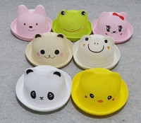 Cheap NEW Summer Cute Baby Cute cartoon animal shapes Children bucket hats 8 colors promotional cap empty top hat 16pcs lot MZ0881