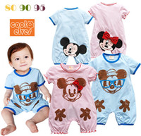 Cheap 2013 childrens clothing baby boy girl cartoon mickey minnie mouse short sleeve rompers summer fashion design infant casual wear