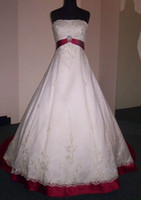 Appliques red and white strapless wedding dresses - Brand New Sexy white red rose strapless court train tulle and Satin Wedding dress of bride MIC063