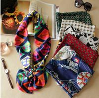 Wholesale NEW Korea POP Women s Silk Scarf Shawl Wrap Bandana Design Silk Scarf decoration autumn winter scarf cm
