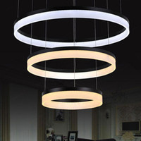 Wholesale Contracted and contemporary LED droplight sitting room dining room study bedroom circular high end acrylic chandelier double the chandelier