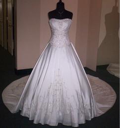 Pure White возлюбленная тафта серебро вышивка бисером А-линия dettachable Панельные поезд свадебные платья от Поставщики подкладке панель