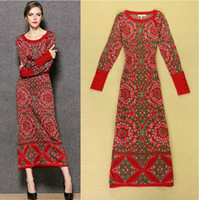 Wholesale New Arrival Autumn Winter Women s O Neck Long Sleeves Vintage Pattern Printed High Street Knitted Woolen Dresses