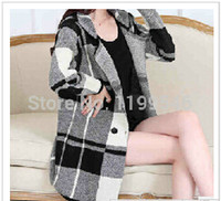 Wholesale 2014 New winter fashion long sleeved sweater lattice sweaters in long cardigan dress coat