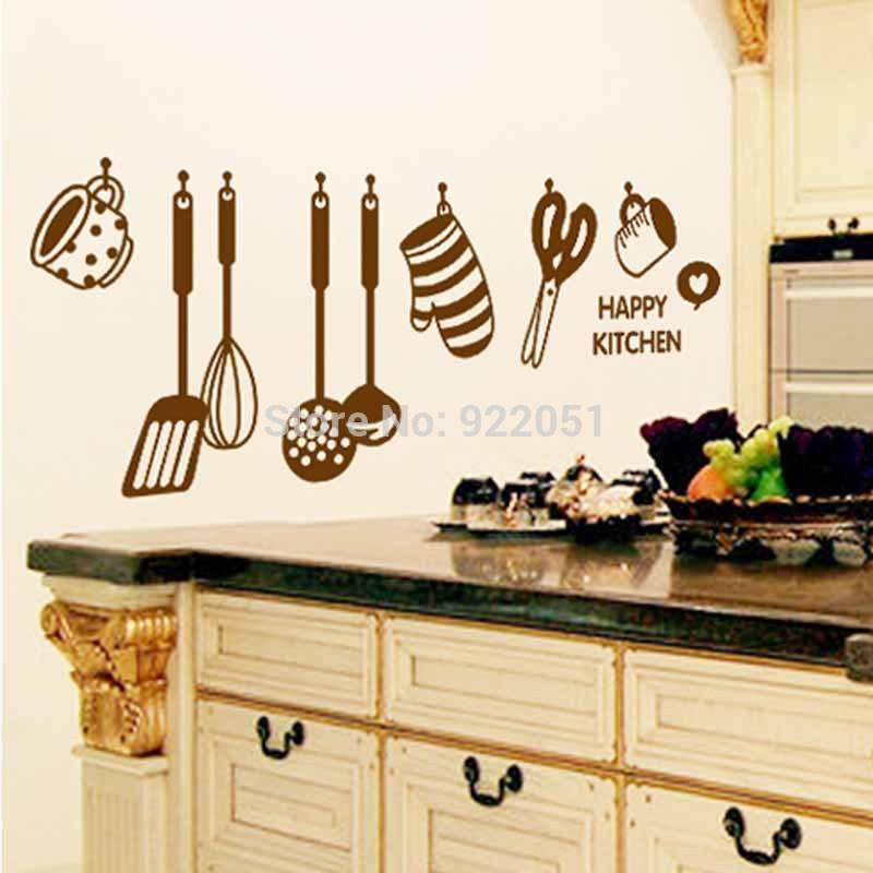Happy Kitchen Kitchenware Utensils Wallpaper Wall Decals Pvc Removable Art Home Wall Stickers Kitchen Wall Decor Stickers Walls Super Mario Wall Stickers
