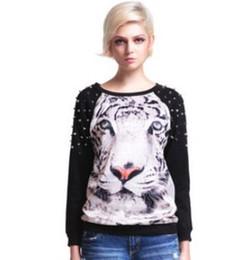 Wholesale Punk Studs Hoodies Women Tiger Printed Pullovers Rivet Neck Long Sleeve Loose Sweatshirts New