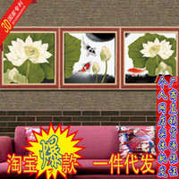 Wholesale precise stitch koi play D printing Dutch Triptych latest stitch substantial new living room