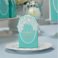 Cheap 10pcs Turquoise Blue Groom Bridal Wedding Party Favor Gift Ribbon Candy Boxes