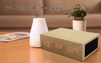 wooden hand display - Good quality Wooden Bedside pro Bluetooth Speaker hands free calls Creative smart home stereo USB Charger Temperature Display